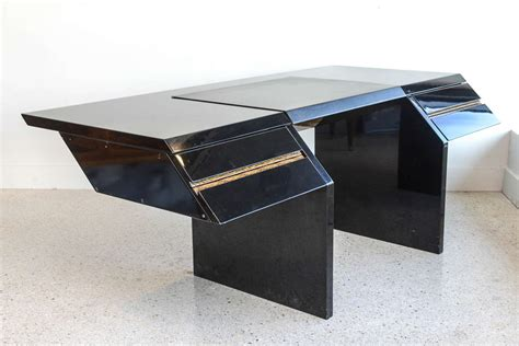italian modern black lacquer and zebrawood desk
