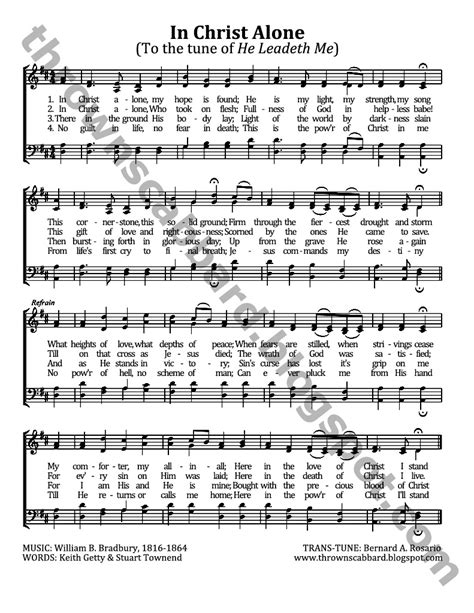 free printable sheet music for in christ alone quot in christ alone quot to the tune of quot he leadeth me quot thrown
