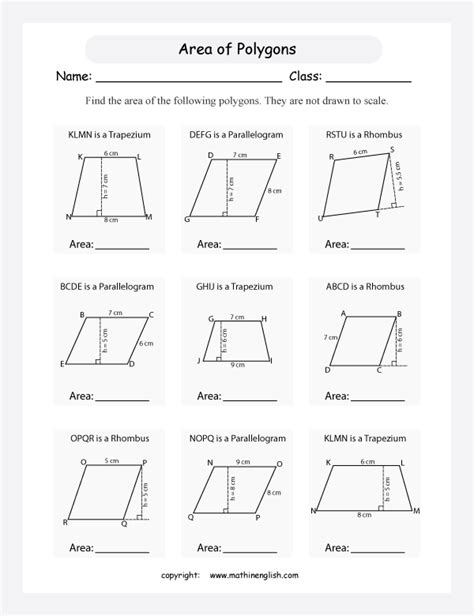 Area Of A Parallelogram Worksheet by Worksheet On Area Of Parallelogram Images