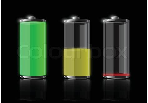 battery color battery half and empty in difference color vector