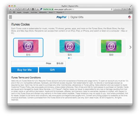 Itunes Gift Card Paypal - paypal gifts itunes 20 lamoureph blog