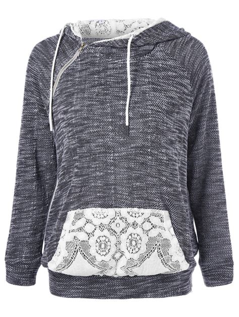 lace patchwork kangaroo pocket hoodie in grey and white m