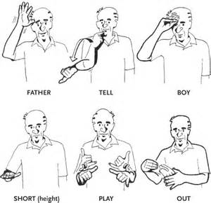 The tell sign moves downward to denote that the person being told is a