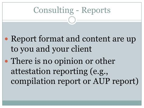 Compilation Report Engagement Letter Aup Vs Consulting Engagements