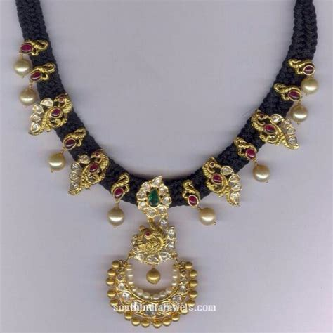 black necklace designs india black thread necklace with pearls south india jewels