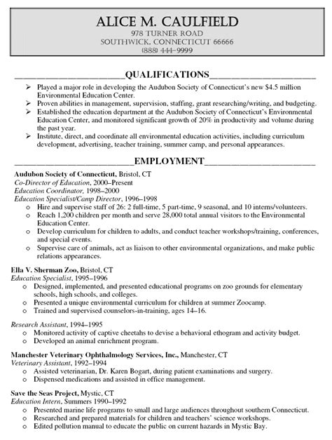 educational resumes resume sles with education section resume exles
