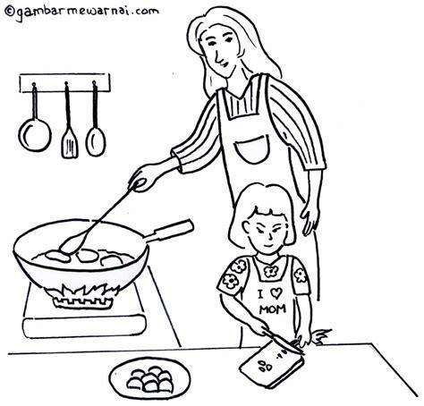 gambar membantu ibu memasak untuk mewarnai gambar mewarnai