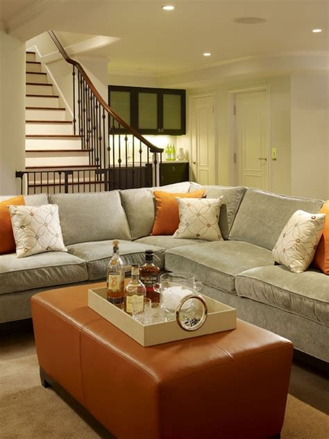 sofa for basement gray velvet ottoman design ideas