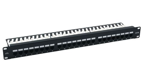 24 patch panel cat6 excel 24 cat6 patch panel 1u utp right angled