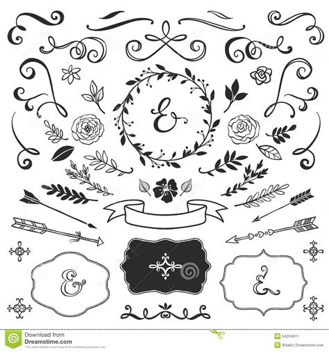 hand drawn design elements vector vintage decorative elements with lettering hand drawn