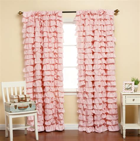 Ruffle Blackout Curtains Pink Ruffle Blackout Curtains Home Design Ideas