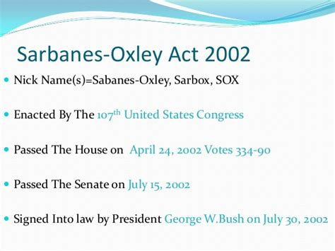 sarbanes oxley act of 2002 section 404 sarbanes oxley act of 2002 section 404 summary 171 heritage