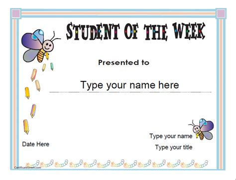 student of the week certificate template education certificates student of the week