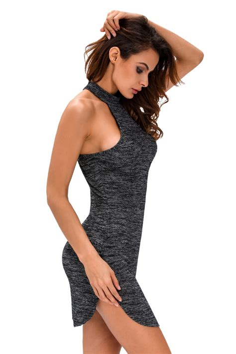 Dress Black Lace 17808 summer stylish black heathered racerback mini dress
