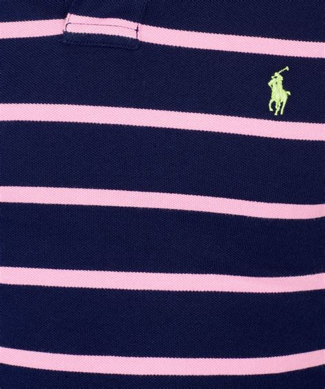 Poloshirt Stripe Navy lyst polo ralph navy and pink stripe polo shirt in blue for