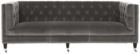 grey velvet tufted sofa gray velvet sofa with nailheads gray velvet sofa with
