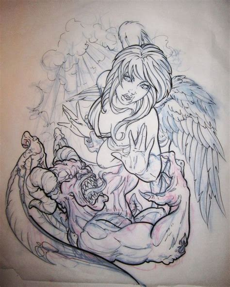 tattoo flash of angels 36 best angels vs demons tattoo flash images on pinterest
