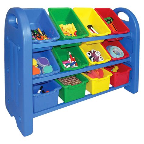 toy organizer ecr4kids 174 3 tier storage bin organizer multicolor with