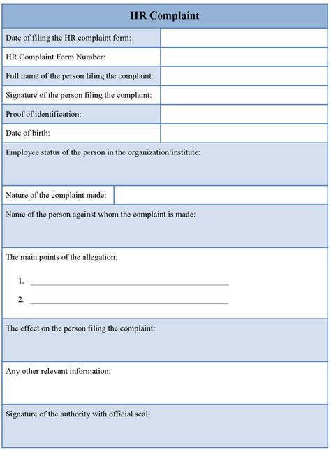 hr templates sle patient complaint form images