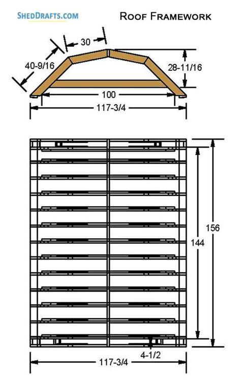 gambrel barn storage shed plans blueprints  set