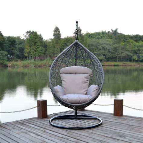 outdoor egg swing grey wicker egg shape swing chair outdoor hanging hammock