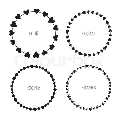 Silhouette Home Decor by Hand Drawn Circle Doodle Floral Frames Vector Simple