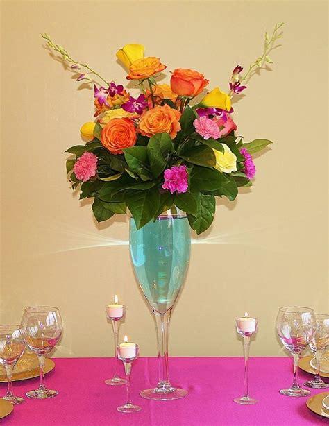 Chagne Glass Centerpieces Wedding Centerpieces Glass Centerpiece Ideas
