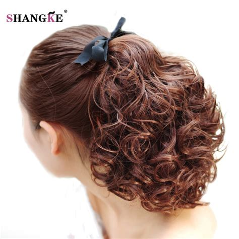 realistic drwa string pony tail hair shangke short clip in drawstring curly ponytail hair
