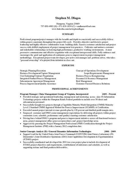 resume project manager resume objective