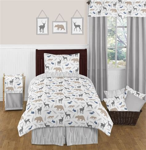woodland twin bedding woodland animals 4pc twin boy bedding set by sweet jojo designs only 119 99