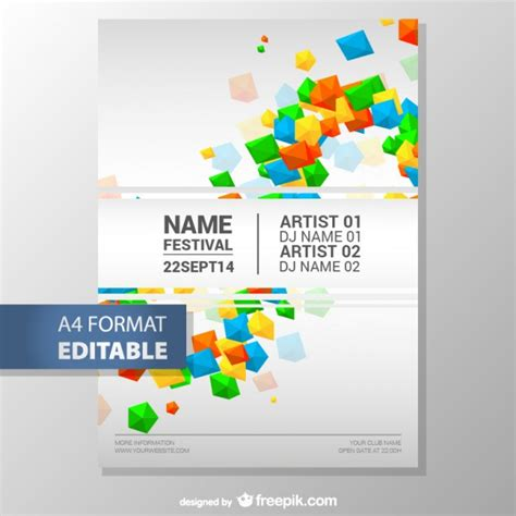 colorful geometric editable poster template vector free