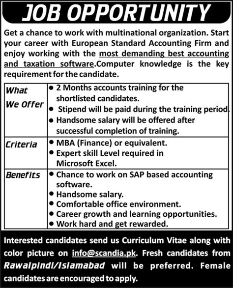 Careers With Mba In Accounting by Fresh Mba Finance In Islamabad Rawalpindi 2015