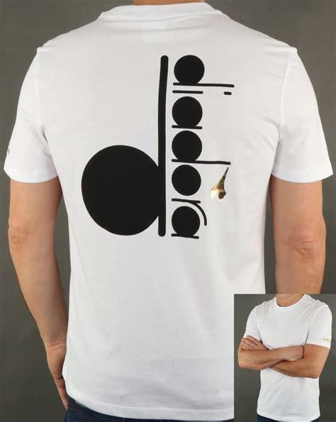 t shirt t shirt diadora diadora logo t shirt white black crew neck cotton top mens