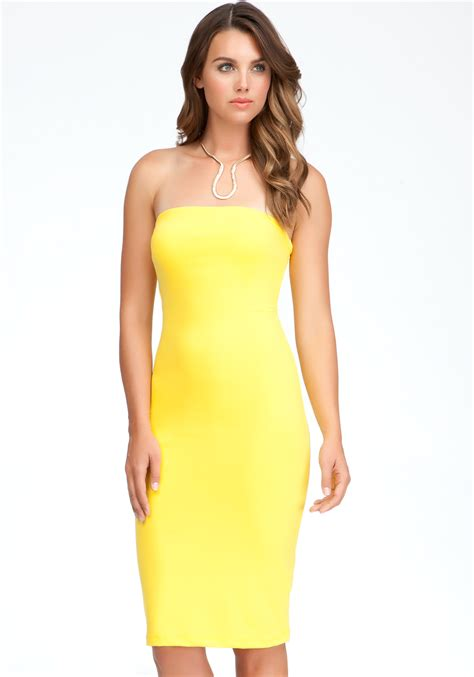 Miller Dandelion Dress bebe strapless solid midi dress exclusive in yellow dandelion lyst