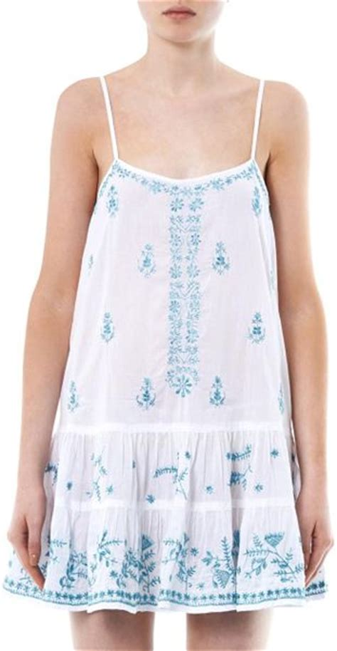 White Cotton Cami juliet dunn embroidered cotton camisole in white lyst