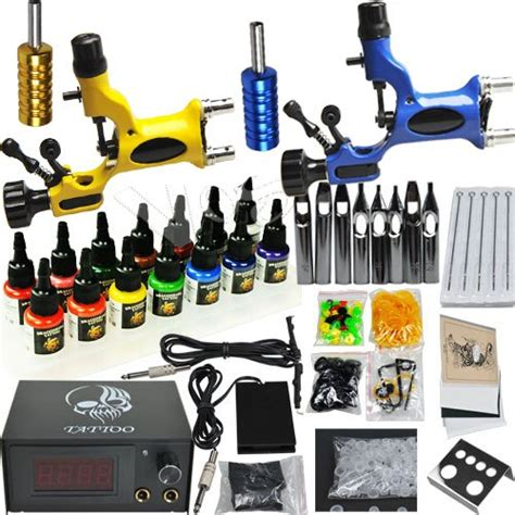professional complete tattoo kit 2 top rotary machine gun