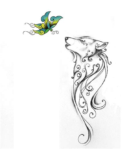 wolf and butterfly ink art pinterest