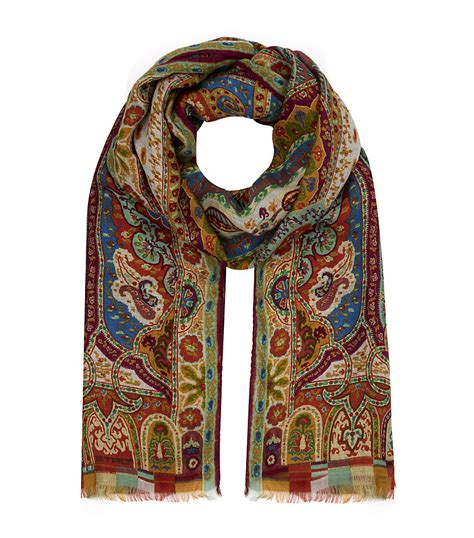 etro paisley scarf in brown lyst