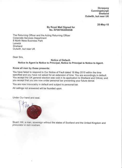 Response Letter To Notice Of Default The Sovereign Nation Of Shetland