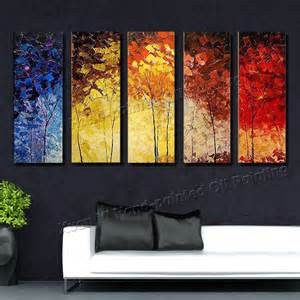 Painting For Home Decor 5 Canvas Wall Painted Palette Knife Painting Colourful Trees Decor Home