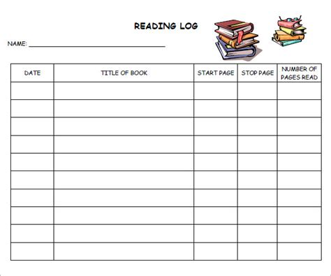 Middle School Reading Log Template 9 reading log templates free pdf doc