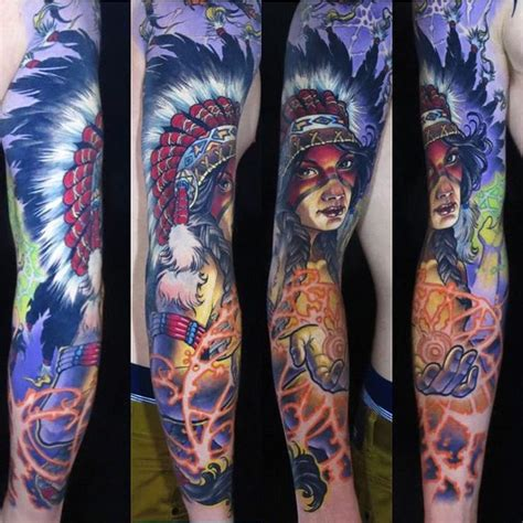 indian sleeve tattoos indian shaman sleeve sleeves