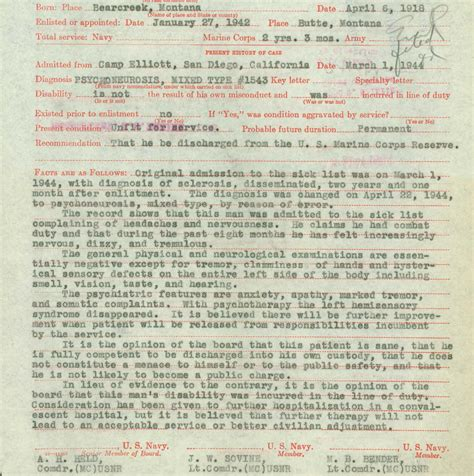 Air Court Martial Records Usmc Statement Of Service Letter
