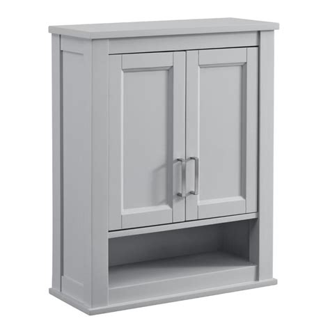 gray bathroom wall cabinet shop living durham 24 in w x 30 in h x 10 in d light