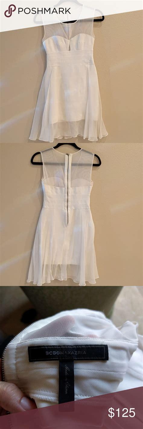 bcbg white chiffon dress wore   simple