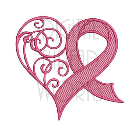 breast cancer awareness ribbon embroidery design for 4x4 5x7 and 6x10 inch hoops