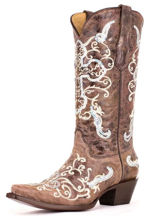 wedding cowboy boots corral boots silver sequins cross s boots