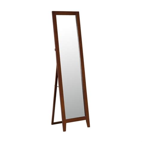 modern classic full length leaning floor mirror with brown wood frame fastfurnishings com