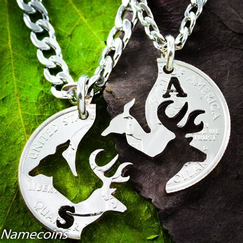 mens necklace buck and doe quarter customized by