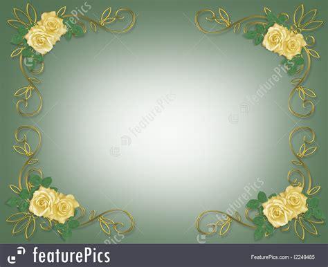 Wedding Invitation Background Yellow by Templates Yellow Roses Wedding Invitation Border Stock